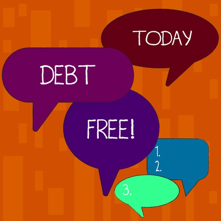 Handwriting text Debt Free. Conceptual photo does not owning any money or things to any individual or companies Many Color Speech Bubble in Different Sizes and Shade for Group Discussion Stok Fotoğraf
