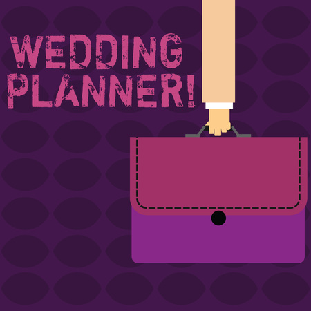 Handwriting text Wedding Planner. Conceptual photo professional who assists with design planning and analysisagement Businessman Hand Carrying Colorful Briefcase Portfolio with Stitch Applique