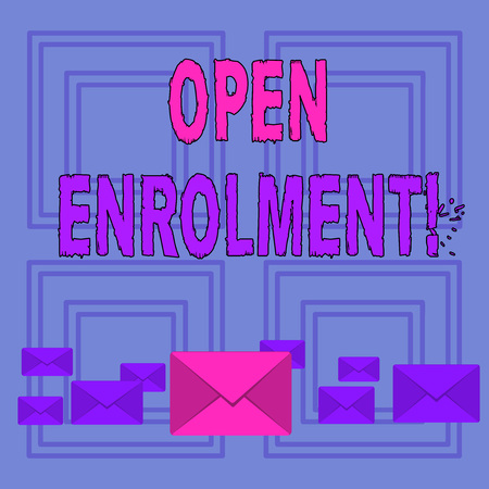 Text sign showing Open Enrolment. Business photo text student public school other than one assigned basis residence Pastel Color Closed Envelopes in Different Sizes with Big one in the Middle