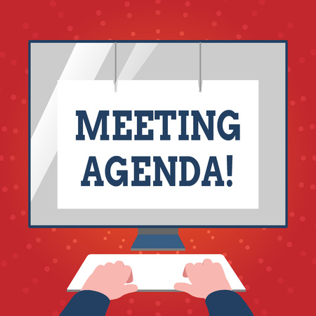 Writing note showing Meeting Agenda. Business concept for list items that participants hope to accomplish at meetings Hands on Keyboard Front White Monitor with Screen Protector Stock fotó