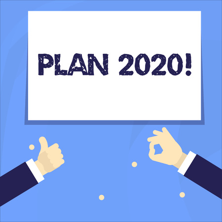 Conceptual hand writing showing Plan 2020. Concept meaning detailed proposal doing achieving something next year Two Businessmen Hands Gesturing the Thumbs Up and Okay Sign