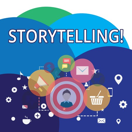 Writing note showing Storytelling. Business concept for activity writing stories for publishing them to public photo of Digital Marketing Campaign Icons and Elements for Ecommerce
