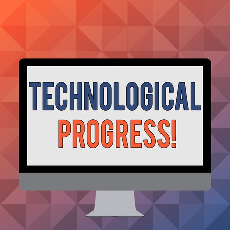 Handwriting text writing Technological Progress. Conceptual photo an economic measure of innovation and growth Blank White Computer Monitor WideScreen Mounted on a Stand for Technology