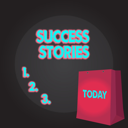 Writing note showing Success Stories. Business concept for story demonstrating who rises to fortune or brilliant achievement Color Gift Bag with Punched Hole on Two toned Blank Space