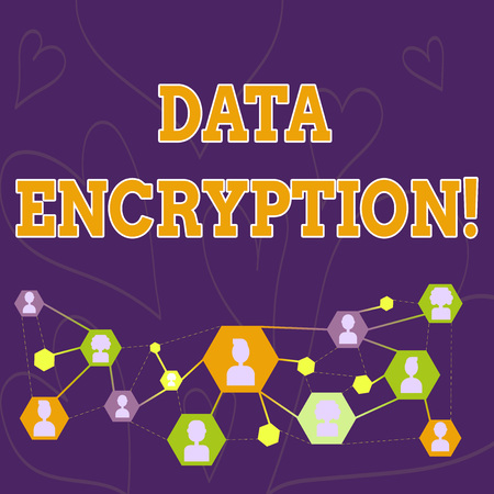 Text sign showing Data Encryption. Business photo showcasing another form code that only showing with access secret key Online Chat Head Icons with Avatar and Connecting Lines for Networking Idea