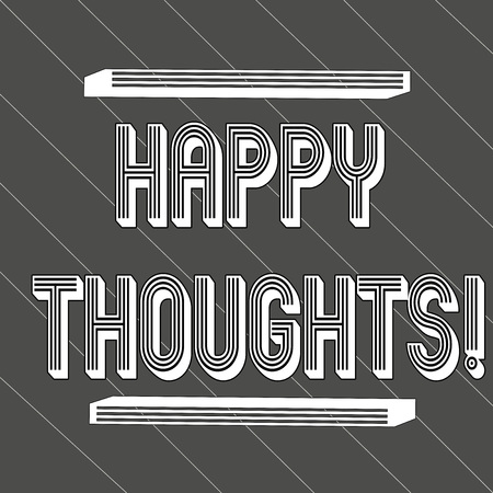 Handwriting text Happy Thoughts. Conceptual photo good idea opinion produced by thinking or occurring mind Seamless Thick Black Stripes and Thin White Lines Slanting at 45 Degrees
