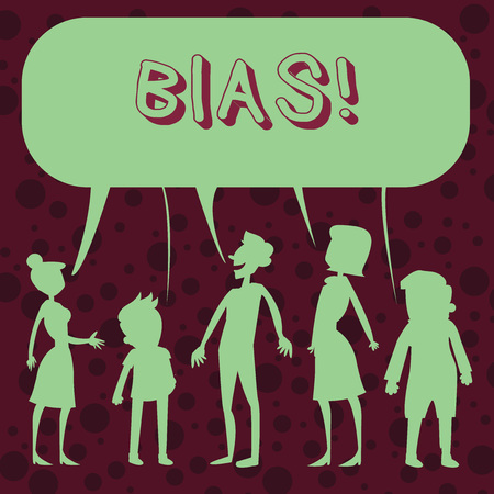 Conceptual hand writing showing Bias. Concept meaning inclination or prejudice for or against one demonstrating group Figure of People Talking and Sharing Colorful Speech Bubble