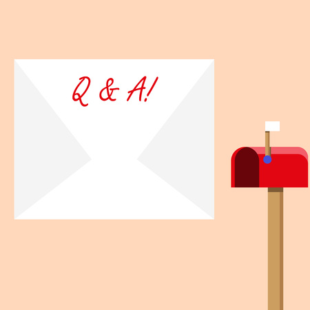 Handwriting text writing Q And A. Conceptual photo defined as questions being asked and answers Blank Big White Envelope and Open Red Mailbox with Small Flag Up Signalling