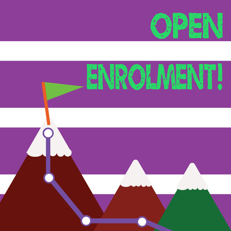 Word writing text Open Enrolment. Business photo showcasing student public school other than one assigned basis residence Three Mountains with Hiking Trail and White Snowy Top with Flag on One Peak