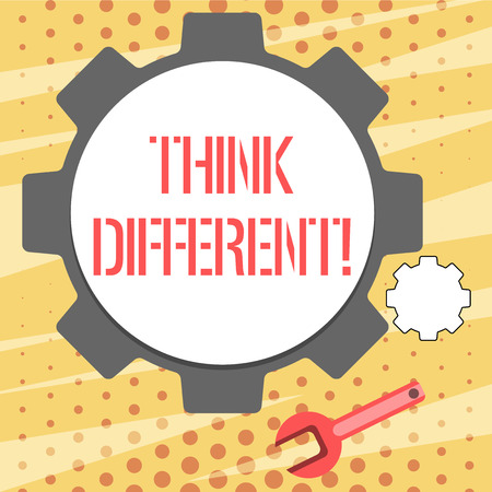 Conceptual hand writing showing Think Different. Concept meaning direct ones mind towards someone or something uniquely Wheel Gear and Wrench Mechanical Tool for SEO and Web Icon