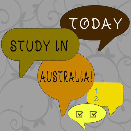 Writing note showing Study In Australia. Business concept for going into foreign country order complete your studies Speech Bubble in Different Sizes and Shade Group Discussion Banco de Imagens