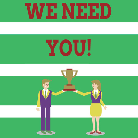 Writing note showing We Need You. Business concept for asking someone to work together for certain job or target Man and Woman Business Suit Holding Championship Trophy Cup Banco de Imagens - 121174357