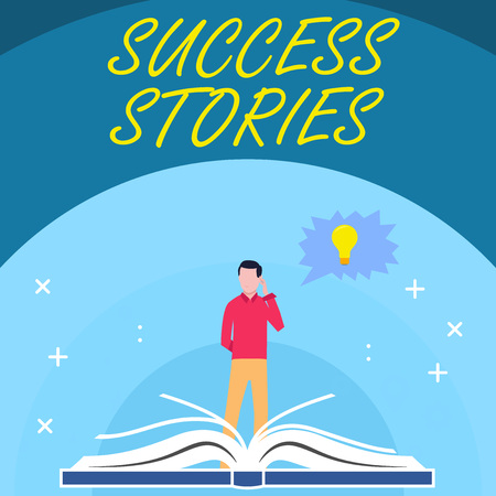 Handwriting text Success Stories. Conceptual photo story demonstrating who rises to fortune or brilliant achievement Man Standing Behind Open Book, Hand on Head, Jagged Speech Bubble with Bulb 版權商用圖片