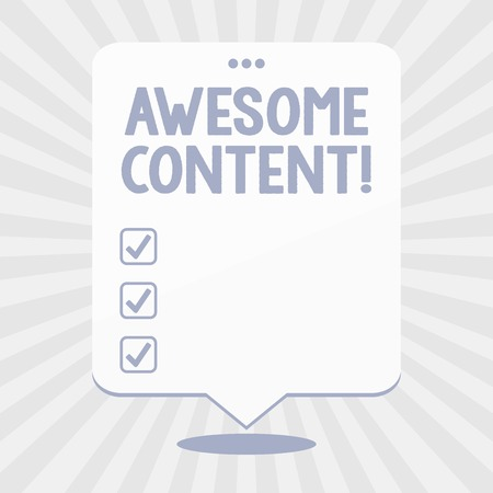 Word writing text Awesome Content. Business photo showcasing you are satisfied and happy about what book move contain Blank Space White Speech Balloon Floating with Three Punched Holes on Top