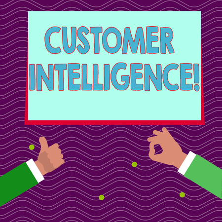 Text sign showing Customer Intelligence. Business photo text process of analyzing information regarding customers Two Businessmen Hands Gesturing the Thumbs Up and Okay Sign for Promotion Imagens