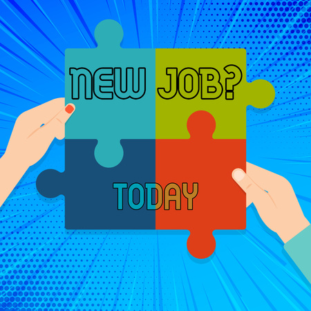 Writing note showing New Job Question. Business concept for formal meeting which someone asked find out if they are suitable Multi Color Jigsaw Puzzle Pieces Put Together by Human Hands
