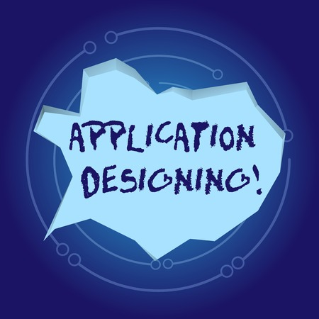 Text sign showing Application Designing. Business photo showcasing develops software based on the specific needs Blank Pale Blue Speech Bubble in Irregular Cut Edge Shape 3D Style Backdrop