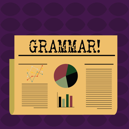 Text sign showing Grammar. Business photo showcasing whole system structure language syntax and morphology Colorful Layout Design Plan of Text Line, Bar, Linear and Pie Chart Diagram