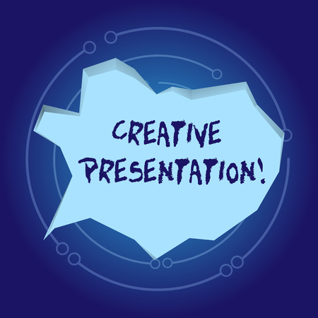 Text sign showing Creative Presentation. Business photo showcasing process of presenting a topic to an audience Blank Pale Blue Speech Bubble in Irregular Cut Edge Shape 3D Style Backdrop