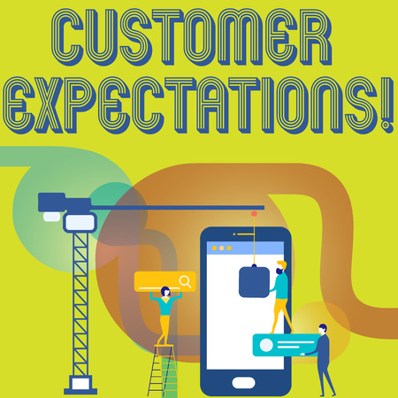 Text sign showing Customer Expectations. Business photo text Perceivedvalue clients seek from the buying of a good Staff Working Together for Common Target Goal with SEO Process Icons