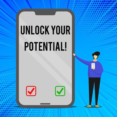 Handwriting text writing Unlock Your Potential. Conceptual photo release possibilities Education and good training is key Man Presenting Huge Blank Screen Smartphone while Holding Another Mobile