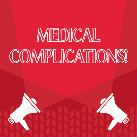 Word writing text Medical Complications. Business photo showcasing unfavorable evolution or consequence of a disease Blank Double Spotlight Crisscrossing Upward from Two Megaphones on the Floor