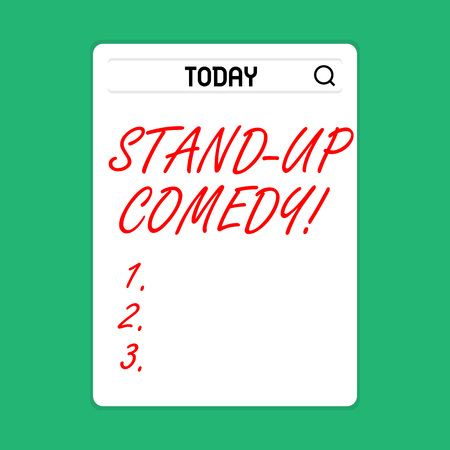 Handwriting text Stand Up Comedy. Conceptual photo comic style in which comedian performs front live audience Search Bar with Magnifying Glass Icon photo on Blank Vertical White Screen Banque d'images