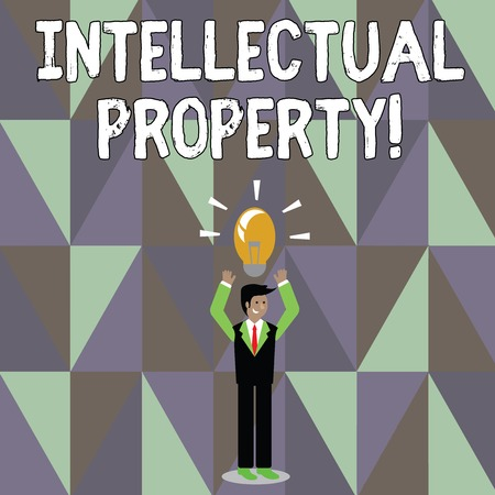 Word writing text Intellectual Property. Business photo showcasing Ownership of an idea or design by the demonstrating Businessman Standing Raising Arms Upward with Lighted Bulb Icon on his Head