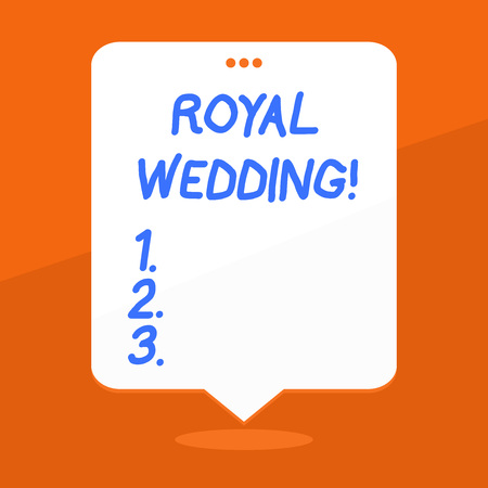 Handwriting text writing Royal Wedding. Conceptual photo marriage ceremony involving members of kingdom family Blank Space White Speech Balloon Floating with Three Punched Holes on Top