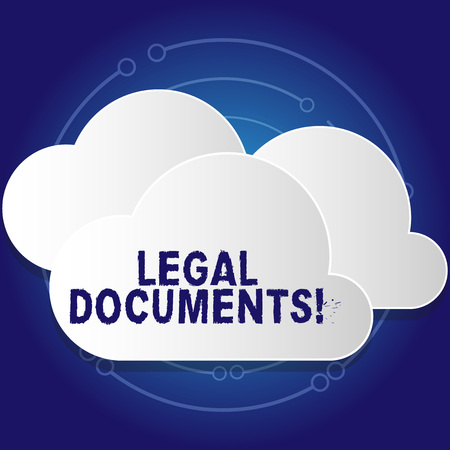 Conceptual hand writing showing Legal Documents. Concept meaning states some contractual relationship or grants some right White Clouds Cut Out of Board Floating on Top of Each Other