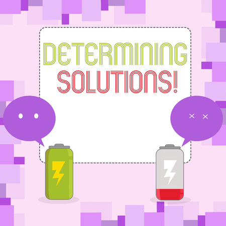 Conceptual hand writing showing Determining Solutions. Concept meaning identifying business needs and determining solutions Fully Charge and Discharge Battery with Emoji Speech Bubble