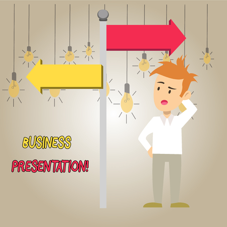 Word writing text Business Presentation. Business photo showcasing Demonstration or to present a new idea or product Man Confused with the Road Sign Arrow Pointing to Opposite Side Direction 版權商用圖片