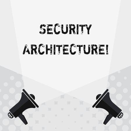 Text sign showing Security Architecture. Business photo text Focus on information security all over the enterprise Blank Double Spotlight Crisscrossing Upward from Two Megaphones on the Floor 写真素材