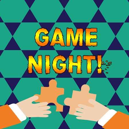 Conceptual hand writing showing Game Night. Concept meaning usually its called on adult play dates like poker with friends Hands Holding Jigsaw Puzzle Pieces about Interlock the Tiles
