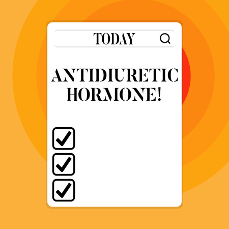 Text sign showing Antidiuretic Hormone. Business photo showcasing peptide molecule that is release by the pituitary gland Search Bar with Magnifying Glass Icon photo on Blank Vertical White Screen
