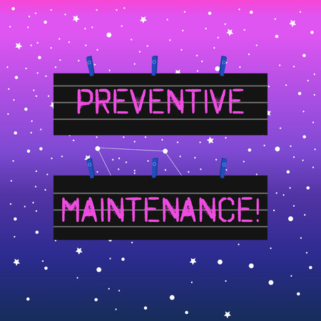 Handwriting text writing Preventive Maintenance. Conceptual photo Routine maintenance to help keep equipment up Two Color Blank Strip Size Lined Paper Sheet Hanging Using Blue Clothespin