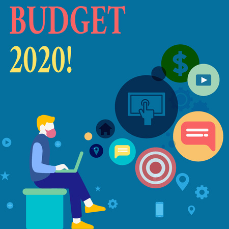 Writing note showing Budget 2020. Business concept for estimate of income and expenditure for next or current year Man Sitting with Laptop and SEO Driver Icons on Blank Space