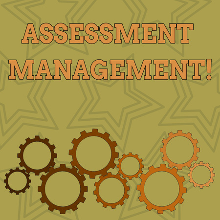 Writing note showing Assessment Management. Business concept for analysisagement of investments on behalf of others Colorful Cog Wheel Gear Engaging, Interlocking and Tesselating 版權商用圖片