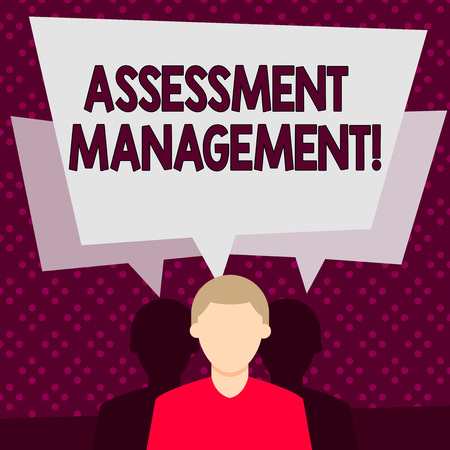 Word writing text Assessment Management. Business photo showcasing analysisagement of investments on behalf of others Faceless Man has Two Shadows Each has Their Own Speech Bubble Overlapping 版權商用圖片