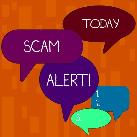 Handwriting text Scam Alert. Conceptual photo fraudulently obtain money from victim by persuading him Many Color Speech Bubble in Different Sizes and Shade for Group Discussion
