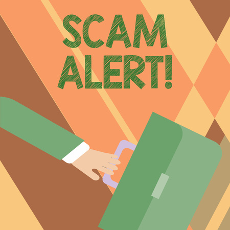 Writing note showing Scam Alert. Business concept for fraudulently obtain money from victim by persuading him Rushing Businessman Swayed Farther Back and Holding Briefcase