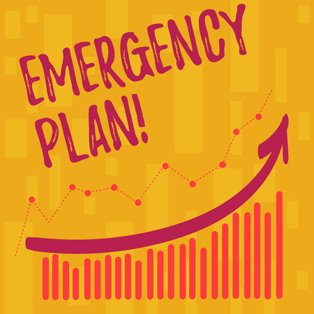 Text sign showing Emergency Plan. Business photo showcasing course of action developed to mitigate damage of events Combination of Colorful Column and Line Graphic Chart with Arrow Going Up 版權商用圖片 - 121190769