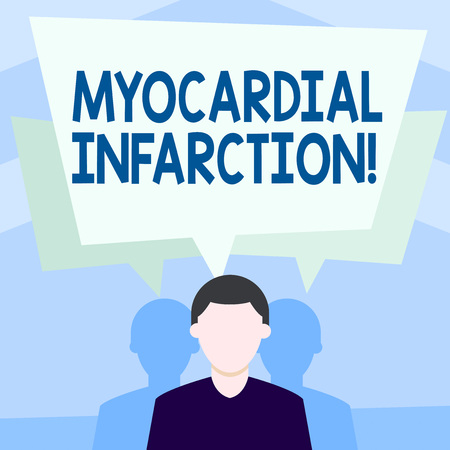 Writing note showing Myocardial Infarction. Business concept for due to the sudden deprivation of circulating blood Faceless Man has Two Shadows with Speech Bubble Overlapping