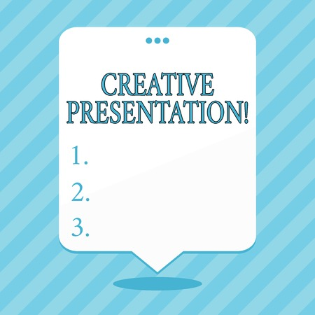 Word writing text Creative Presentation. Business photo showcasing process of presenting a topic to an audience Blank Space White Speech Balloon Floating with Three Punched Holes on Top