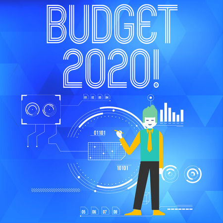 Text sign showing Budget 2020. Business photo showcasing estimate of income and expenditure for next or current year Man Standing Holding Pen Pointing to Chart Diagram with SEO Process Icons