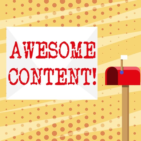 Conceptual hand writing showing Awesome Content. Concept meaning you are satisfied and happy about what book move contain White Envelope and Red Mailbox with Small Flag Up Signalling