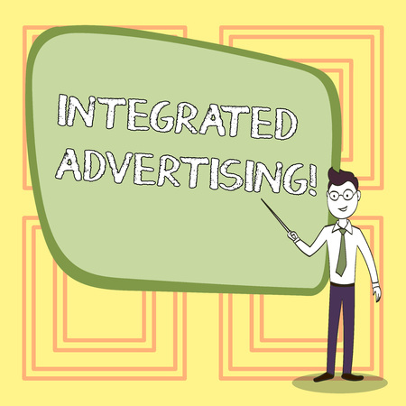 Conceptual hand writing showing Integrated Advertising. Concept meaning Unified experience to consumer to interact with brand Confident Man in Tie, Eyeglasses and Stick Pointing to Board