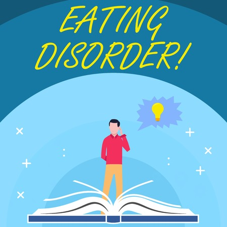 Handwriting text Eating Disorder. Conceptual photo characterized by abnormal or disturbed eating habits Man Standing Behind Open Book, Hand on Head, Jagged Speech Bubble with Bulb