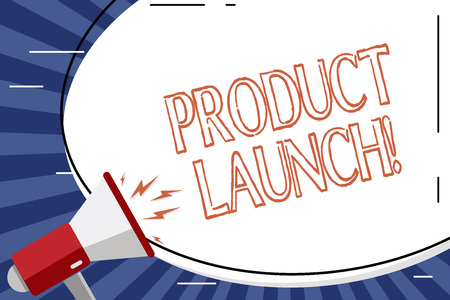 Handwriting text Product Launch. Conceptual photo when company decides to release new product in market Blank White Huge Oval Shape Sticker and Megaphone Shouting with Volume Icon