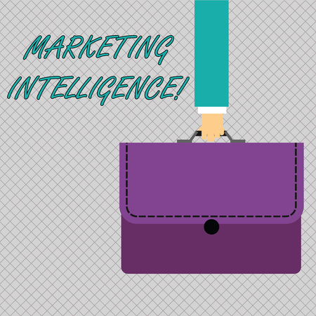 Conceptual hand writing showing Marketing Intelligence. Concept meaning business analytics tool that analyses business data Businessman Carrying Colorful Briefcase Portfolio Applique Stock fotó